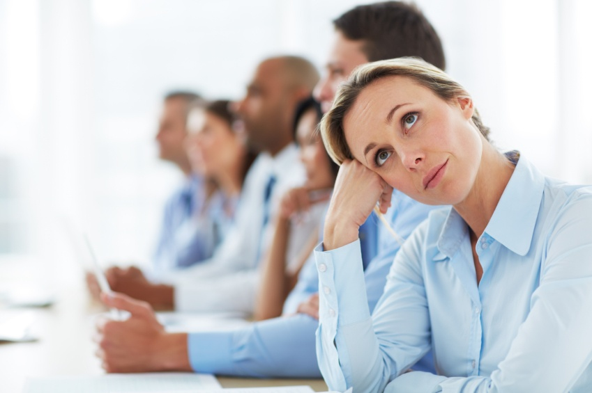 Bored worker in meeting