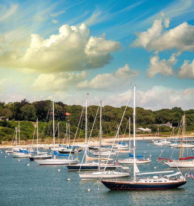 sailboats in harbor